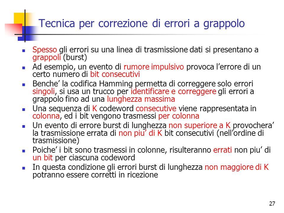 27 Tecnica per correzione di errori a grappolo Spesso gli errori su una linea di trasmissione dati si presentano a grappoli (burst) Ad esempio, un evento di rumore impulsivo provoca l'errore di un certo numero di bit consecutivi Benche' la codifica Hamming permetta di correggere solo errori singoli, si usa un trucco per identificare e correggere gli errori a grappolo fino ad una lunghezza massima Una sequenza di K codeword consecutive viene rappresentata in colonna, ed i bit vengono trasmessi per colonna Un evento di errore burst di lunghezza non superiore a K provochera' la trasmissione errata di non piu' di K bit consecutivi (nell'ordine di trasmissione) Poiche' i bit sono trasmessi in colonne, risulteranno errati non piu' di un bit per ciascuna codeword In questa condizione gli errori burst di lunghezza non maggiore di K potranno essere corretti in ricezione