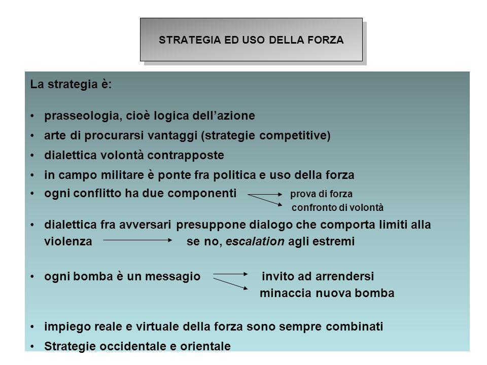 5 La strategia è: prasseologia, cioè logica dell'azione arte di procurarsi vantaggi (strategie competitive) dialettica volontà contrapposte in campo m