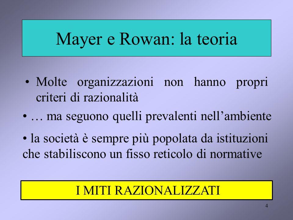 4 Mayer e Rowan: la teoria Molte organizzazioni non hanno propri criteri di razionalità … ma seguono quelli prevalenti nell'ambiente la società è sempre più popolata da istituzioni che stabiliscono un fisso reticolo di normative I MITI RAZIONALIZZATI