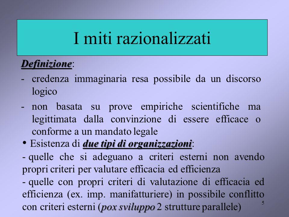5 I miti razionalizzati Definizione Definizione: -credenza immaginaria resa possibile da un discorso logico -non basata su prove empiriche scientifich