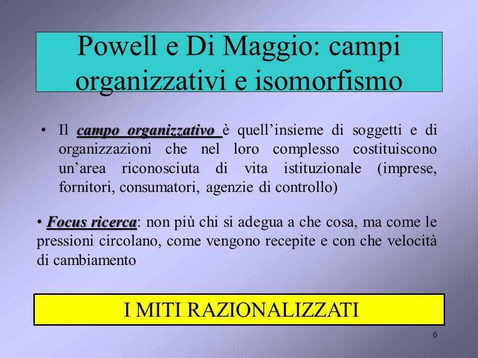 6 Powell e Di Maggio: campi organizzativi e isomorfismo campo organizzativoIl campo organizzativo è quell'insieme di soggetti e di organizzazioni che nel loro complesso costituiscono un'area riconosciuta di vita istituzionale (imprese, fornitori, consumatori, agenzie di controllo) Focus ricerca Focus ricerca: non più chi si adegua a che cosa, ma come le pressioni circolano, come vengono recepite e con che velocità di cambiamento I MITI RAZIONALIZZATI