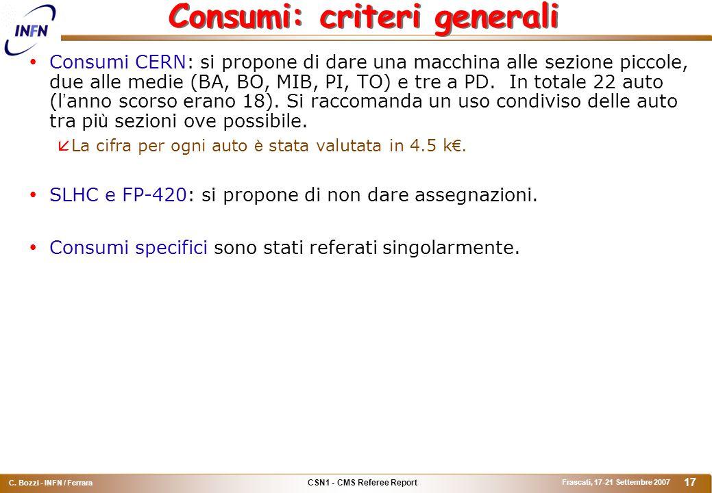 CSN1 - CMS Referee Report C. Bozzi - INFN / Ferrara Frascati, 17-21 Settembre 2007 17 Consumi: criteri generali  Consumi CERN: si propone di dare una