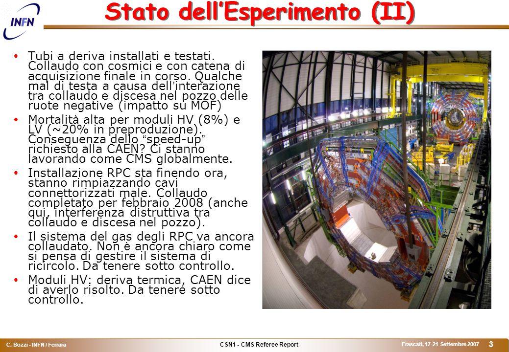 CSN1 - CMS Referee Report C. Bozzi - INFN / Ferrara Frascati, 17-21 Settembre 2007 3 Stato dell'Esperimento (II)  Tubi a deriva installati e testati.