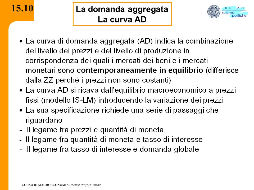 CORSO DI MACROECONOMIA Docente Prof.ssa Bevolo 15.10 La domanda aggregata La curva AD