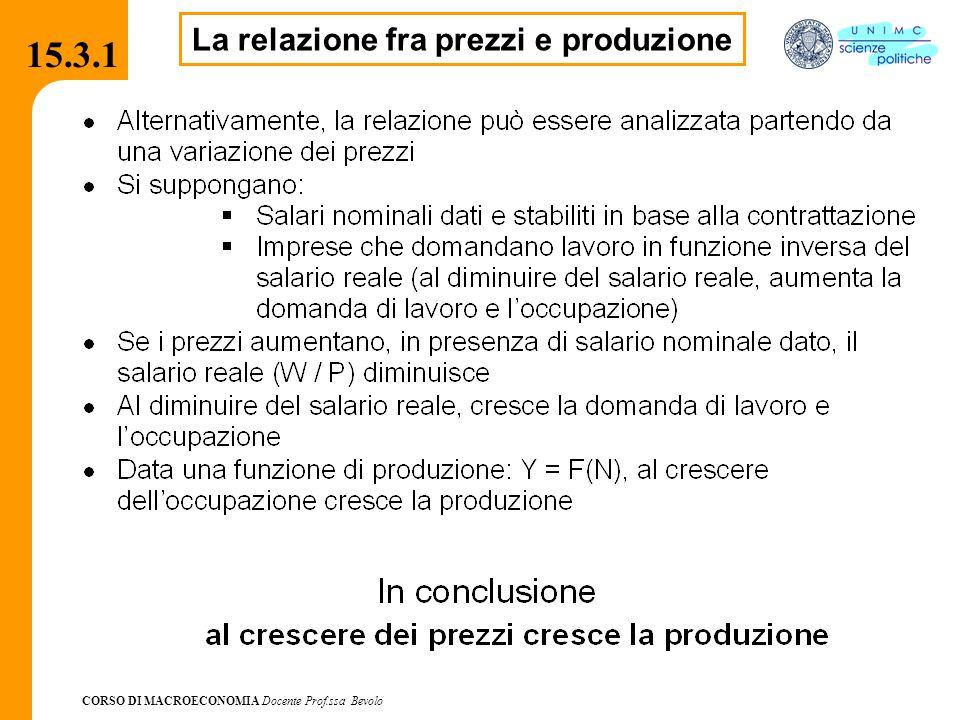 CORSO DI MACROECONOMIA Docente Prof.ssa Bevolo 15.3.1 La relazione fra prezzi e produzione