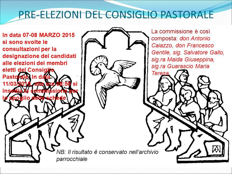 PRE-ELEZIONI DEL CONSIGLIO PASTORALE In data 07-08 MARZO 2015 si sono svolte le consultazioni per la designazione dei candidati alle elezioni dei memb