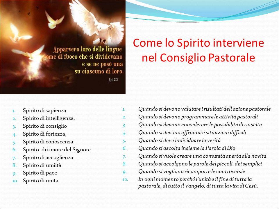 1. Spirito di sapienza 2. Spirito di intelligenza, 3. Spirito di consiglio 4. Spirito di fortezza, 5. Spirito di conoscenza 6. Spirito di timore del S