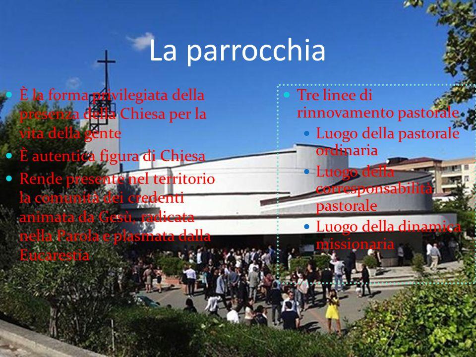 La parrocchia Tre linee di rinnovamento pastorale Luogo della pastorale ordinaria Luogo della corresponsabilità pastorale Luogo della dinamica mission