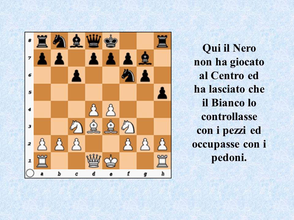 Qui il Nero non ha giocato al Centro ed ha lasciato che il Bianco lo controllasse con i pezzi ed occupasse con i pedoni.