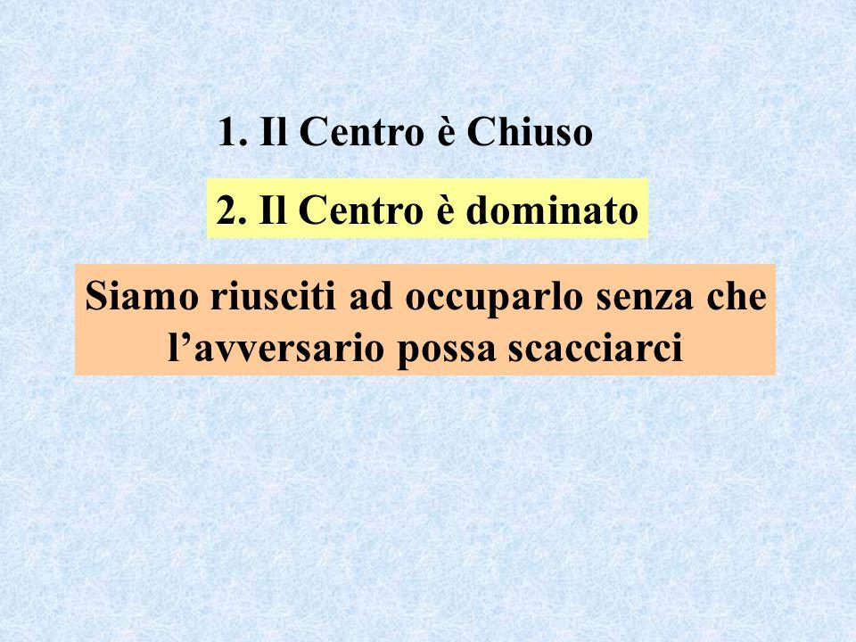 1. Il Centro è Chiuso Siamo riusciti ad occuparlo senza che l'avversario possa scacciarci 2.
