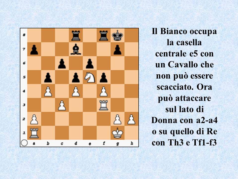 Il Bianco occupa la casella centrale e5 con un Cavallo che non può essere scacciato.
