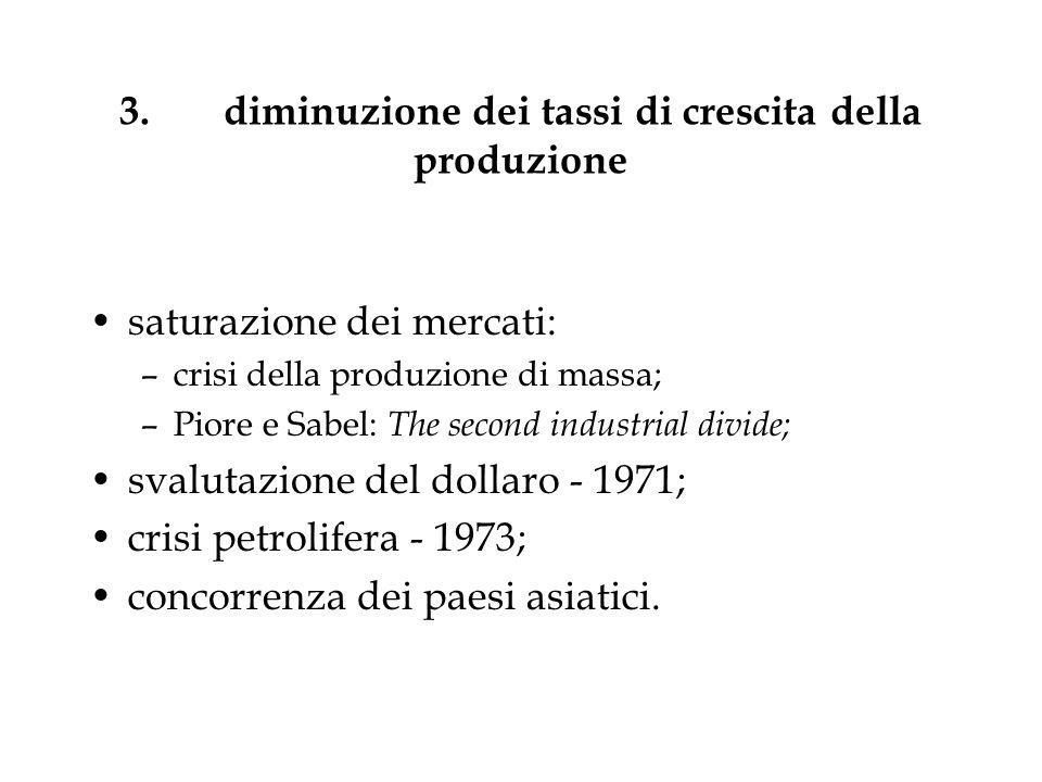 3.diminuzione dei tassi di crescita della produzione saturazione dei mercati: –crisi della produzione di massa; –Piore e Sabel: The second industrial