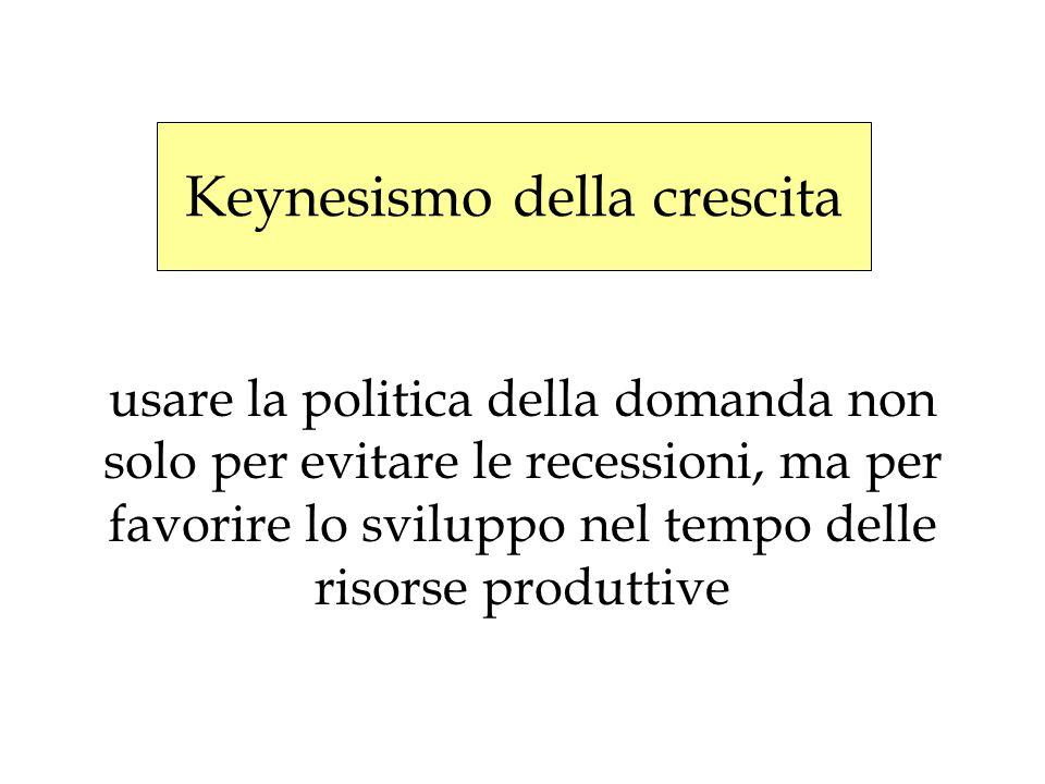 usare la politica della domanda non solo per evitare le recessioni, ma per favorire lo sviluppo nel tempo delle risorse produttive Keynesismo della cr