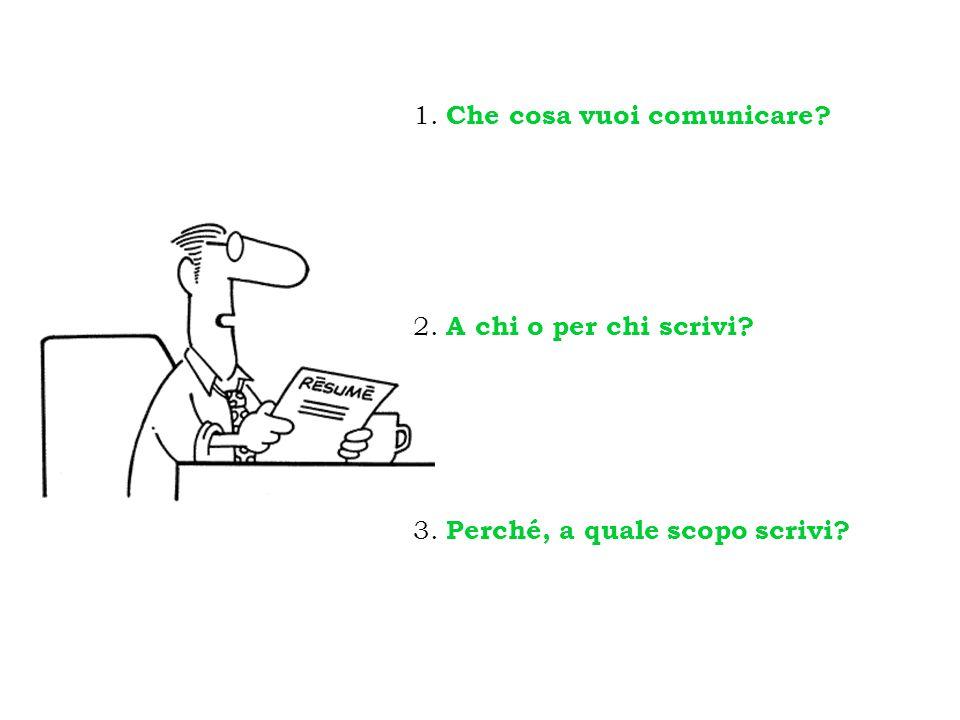 1. Che cosa vuoi comunicare? 2. A chi o per chi scrivi? 3. Perché, a quale scopo scrivi?