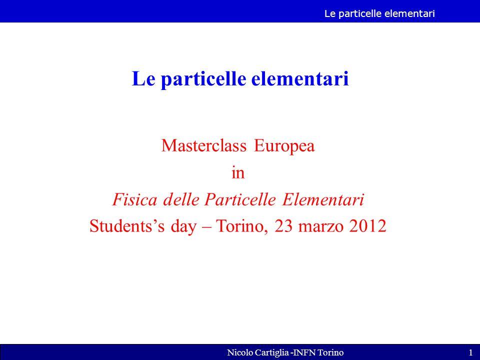 Le particelle elementari Nicolo Cartiglia -INFN Torino1 Le particelle elementari Masterclass Europea in Fisica delle Particelle Elementari Students's day – Torino, 23 marzo 2012