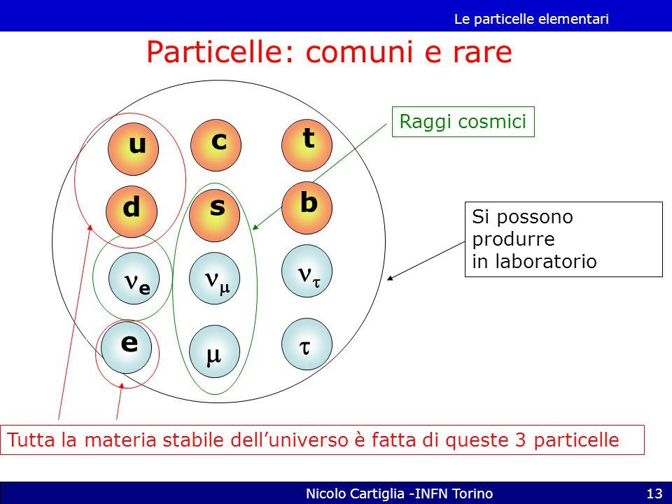 Le particelle elementari Nicolo Cartiglia -INFN Torino13 e s   Raggi cosmici c t b   Si possono produrre in laboratorio u d e Tutta la materia stabile dell'universo è fatta di queste 3 particelle Particelle: comuni e rare