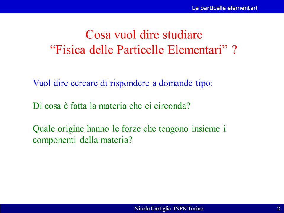 Le particelle elementari Nicolo Cartiglia -INFN Torino2 Cosa vuol dire studiare Fisica delle Particelle Elementari .