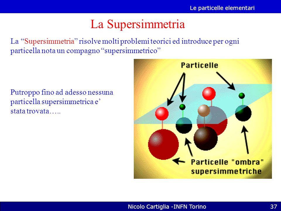 Le particelle elementari Nicolo Cartiglia -INFN Torino37 La Supersimmetria La Supersimmetria risolve molti problemi teorici ed introduce per ogni particella nota un compagno supersimmetrico Putroppo fino ad adesso nessuna particella supersimmetrica e' stata trovata…..