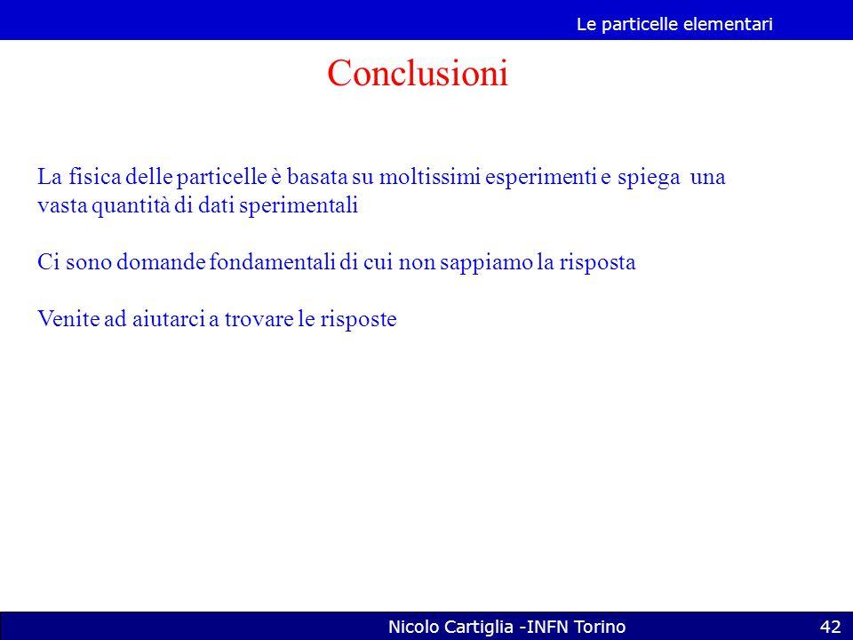 Le particelle elementari Nicolo Cartiglia -INFN Torino42 Conclusioni La fisica delle particelle è basata su moltissimi esperimenti e spiega una vasta quantità di dati sperimentali Ci sono domande fondamentali di cui non sappiamo la risposta Venite ad aiutarci a trovare le risposte