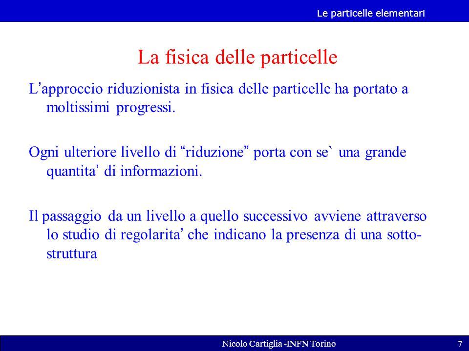 Le particelle elementari Nicolo Cartiglia -INFN Torino7 L'approccio riduzionista in fisica delle particelle ha portato a moltissimi progressi.