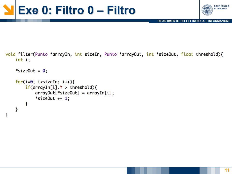 DIPARTIMENTO DI ELETTRONICA E INFORMAZIONE Exe 0: Filtro 0 – Filtro 11