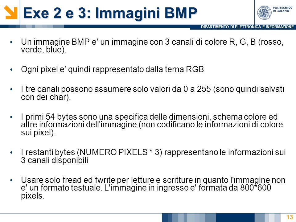 DIPARTIMENTO DI ELETTRONICA E INFORMAZIONE Exe 2 e 3: Immagini BMP Un immagine BMP e un immagine con 3 canali di colore R, G, B (rosso, verde, blue).