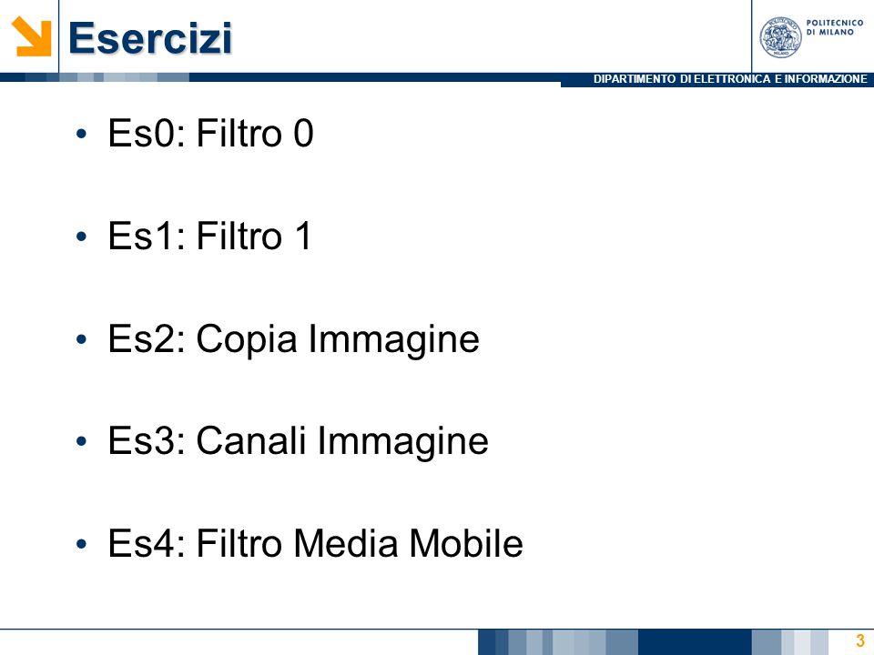 DIPARTIMENTO DI ELETTRONICA E INFORMAZIONEEsercizi Es0: Filtro 0 Es1: Filtro 1 Es2: Copia Immagine Es3: Canali Immagine Es4: Filtro Media Mobile 3