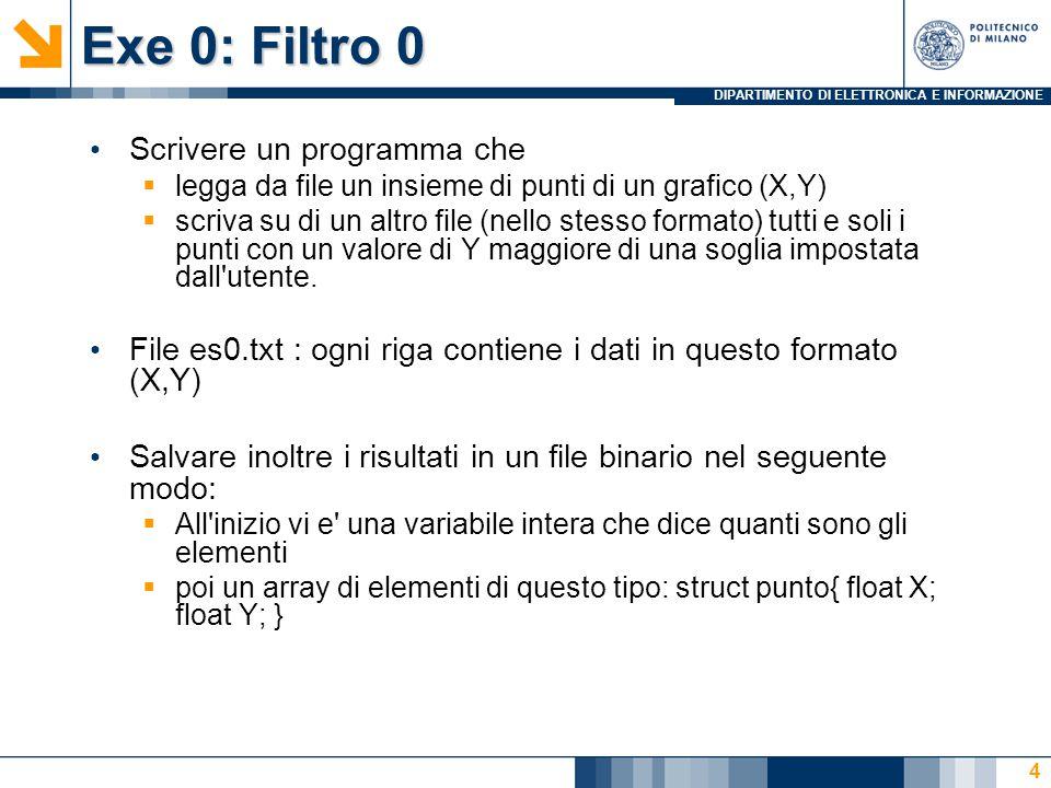 DIPARTIMENTO DI ELETTRONICA E INFORMAZIONE Exe 0: Filtro 0 Scrivere un programma che  legga da file un insieme di punti di un grafico (X,Y)  scriva su di un altro file (nello stesso formato) tutti e soli i punti con un valore di Y maggiore di una soglia impostata dall utente.
