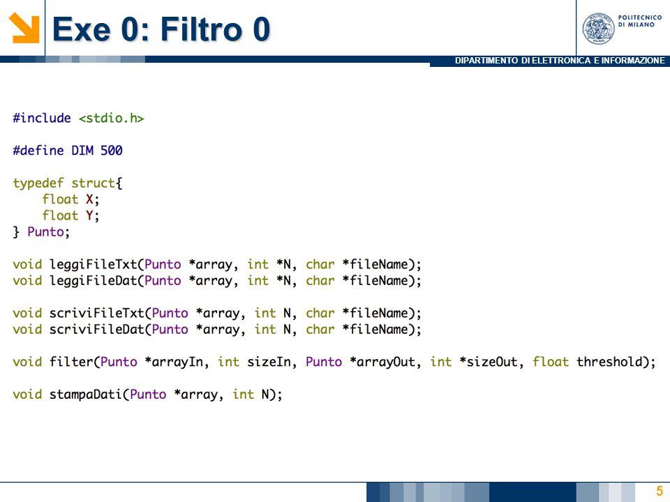 DIPARTIMENTO DI ELETTRONICA E INFORMAZIONE Exe 0: Filtro 0 5