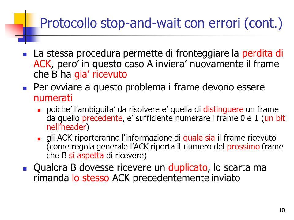 10 Protocollo stop-and-wait con errori (cont.) La stessa procedura permette di fronteggiare la perdita di ACK, pero' in questo caso A inviera' nuovamente il frame che B ha gia' ricevuto Per ovviare a questo problema i frame devono essere numerati poiche' l'ambiguita' da risolvere e' quella di distinguere un frame da quello precedente, e' sufficiente numerare i frame 0 e 1 (un bit nell'header) gli ACK riporteranno l'informazione di quale sia il frame ricevuto (come regola generale l'ACK riporta il numero del prossimo frame che B si aspetta di ricevere) Qualora B dovesse ricevere un duplicato, lo scarta ma rimanda lo stesso ACK precedentemente inviato