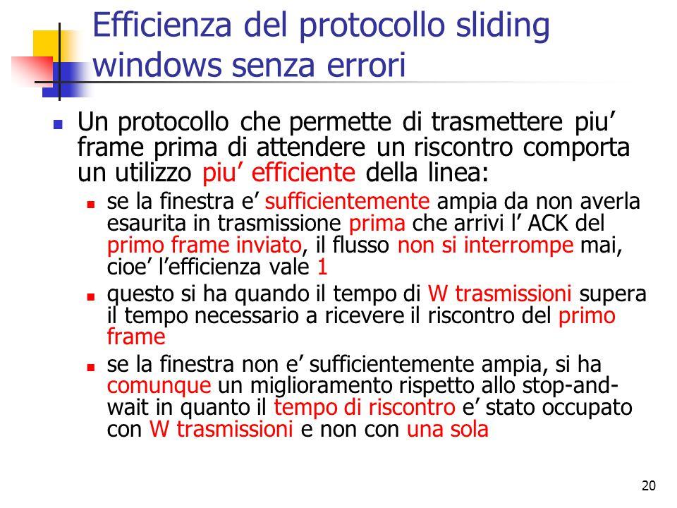 20 Efficienza del protocollo sliding windows senza errori Un protocollo che permette di trasmettere piu' frame prima di attendere un riscontro comporta un utilizzo piu' efficiente della linea: se la finestra e' sufficientemente ampia da non averla esaurita in trasmissione prima che arrivi l' ACK del primo frame inviato, il flusso non si interrompe mai, cioe' l'efficienza vale 1 questo si ha quando il tempo di W trasmissioni supera il tempo necessario a ricevere il riscontro del primo frame se la finestra non e' sufficientemente ampia, si ha comunque un miglioramento rispetto allo stop-and- wait in quanto il tempo di riscontro e' stato occupato con W trasmissioni e non con una sola