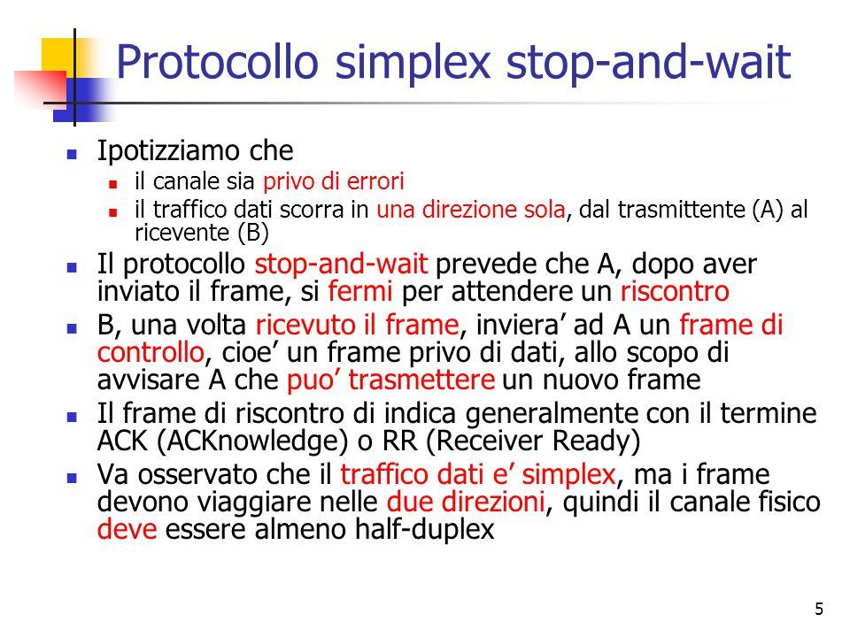 5 Protocollo simplex stop-and-wait Ipotizziamo che il canale sia privo di errori il traffico dati scorra in una direzione sola, dal trasmittente (A) al ricevente (B) Il protocollo stop-and-wait prevede che A, dopo aver inviato il frame, si fermi per attendere un riscontro B, una volta ricevuto il frame, inviera' ad A un frame di controllo, cioe' un frame privo di dati, allo scopo di avvisare A che puo' trasmettere un nuovo frame Il frame di riscontro di indica generalmente con il termine ACK (ACKnowledge) o RR (Receiver Ready) Va osservato che il traffico dati e' simplex, ma i frame devono viaggiare nelle due direzioni, quindi il canale fisico deve essere almeno half-duplex