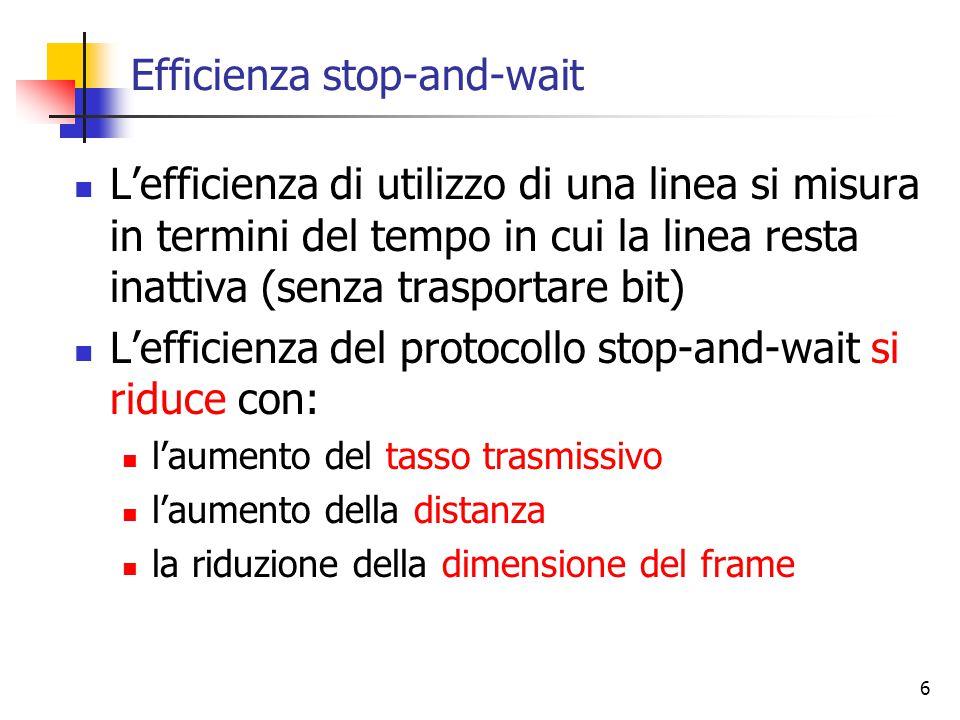 6 Efficienza stop-and-wait L'efficienza di utilizzo di una linea si misura in termini del tempo in cui la linea resta inattiva (senza trasportare bit) L'efficienza del protocollo stop-and-wait si riduce con: l'aumento del tasso trasmissivo l'aumento della distanza la riduzione della dimensione del frame