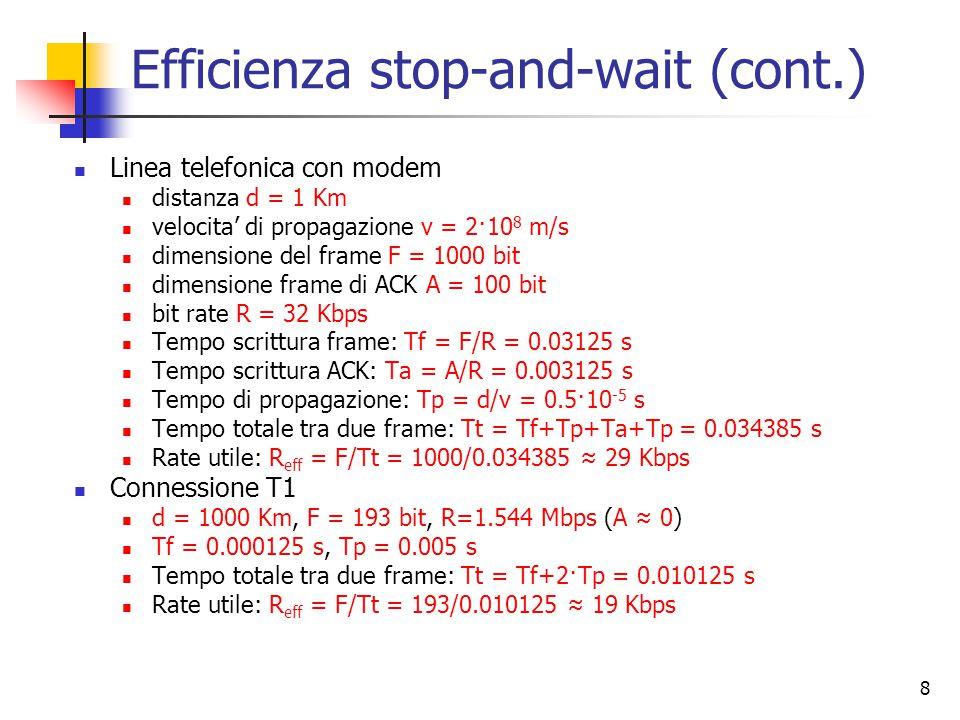 8 Linea telefonica con modem distanza d = 1 Km velocita' di propagazione v = 2·10 8 m/s dimensione del frame F = 1000 bit dimensione frame di ACK A = 100 bit bit rate R = 32 Kbps Tempo scrittura frame: Tf = F/R = 0.03125 s Tempo scrittura ACK: Ta = A/R = 0.003125 s Tempo di propagazione: Tp = d/v = 0.5·10 -5 s Tempo totale tra due frame: Tt = Tf+Tp+Ta+Tp = 0.034385 s Rate utile: R eff = F/Tt = 1000/0.034385 ≈ 29 Kbps Connessione T1 d = 1000 Km, F = 193 bit, R=1.544 Mbps (A ≈ 0) Tf = 0.000125 s, Tp = 0.005 s Tempo totale tra due frame: Tt = Tf+2·Tp = 0.010125 s Rate utile: R eff = F/Tt = 193/0.010125 ≈ 19 Kbps