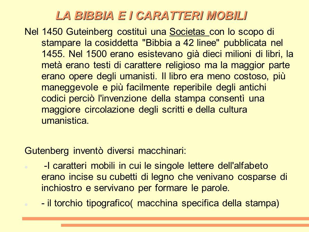 LA BIBBIA E I CARATTERI MOBILI Nel 1450 Guteinberg costituì una Societas con lo scopo di stampare la cosiddetta