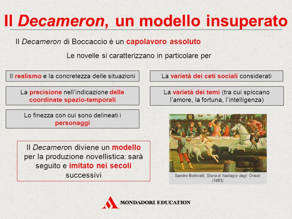 Il Decameron, un modello insuperato Il Decameron di Boccaccio è un capolavoro assoluto Le novelle si caratterizzano in particolare per Il realismo e l