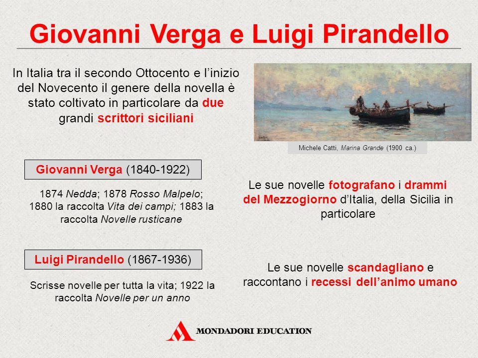 Giovanni Verga e Luigi Pirandello In Italia tra il secondo Ottocento e l'inizio del Novecento il genere della novella è stato coltivato in particolare