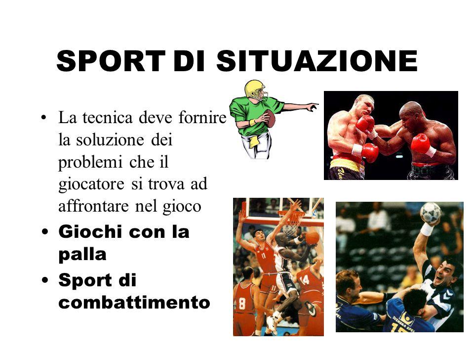 SPORT DI SITUAZIONE La tecnica deve fornire la soluzione dei problemi che il giocatore si trova ad affrontare nel gioco Giochi con la palla Sport di c