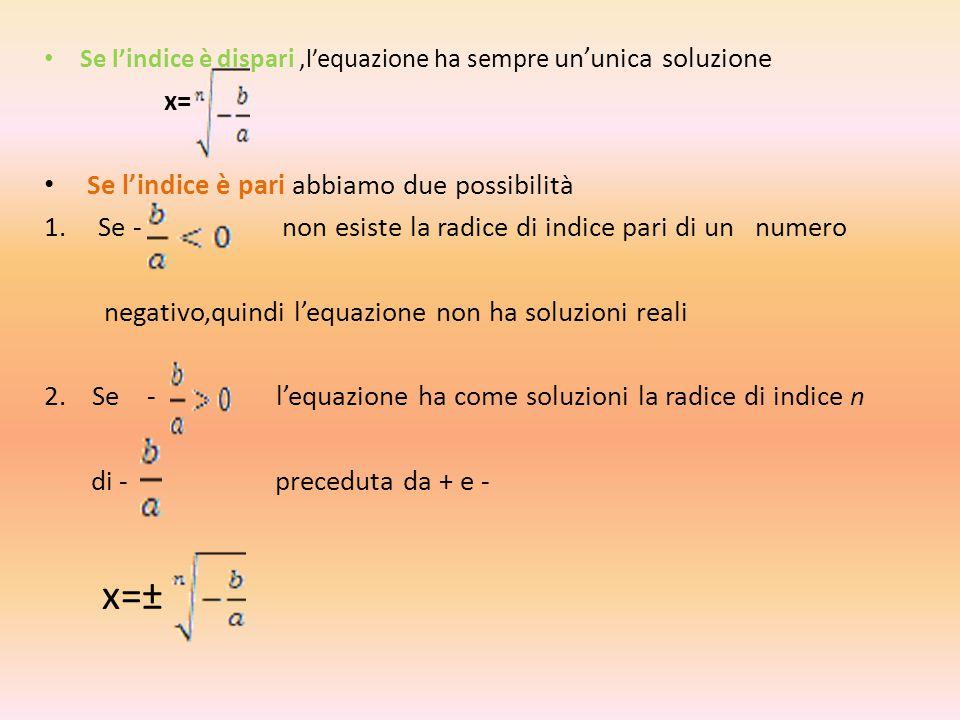 EQUAZIONI TRINOMIE Un'equazione si dice trinomia se la sua forma normale è : ax²ⁿ+bxⁿ+c=0 con a,b,c Є R₀, n Є N₀ Le soluzioni si ottengono con la sostituzione xⁿ=t Con la quale l'equazione si trasforma nell'equazione di secondo grado at²+bt+c=0 Nel caso particolare in cui n=2,le equazioni trinomie assumono la forma ax⁴+bx²+c=0 e si chiamano Equazioni Biquadratiche