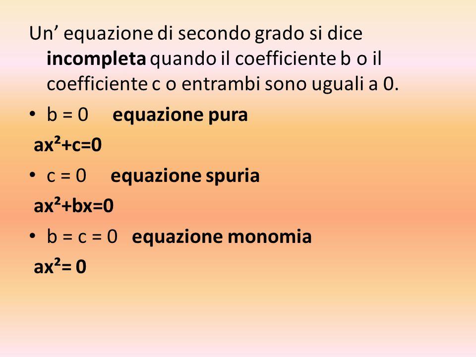 Risoluzione delle equazioni complete Data un'equazione completa di secondo grado ridotta in forma normale per risolverla : 1.Si calcola il discriminante indicato con il simbolo delta Δ Δ = b²-4ac Se Δ > 0 l'equazione ha due soluzioni reali e distinte Se Δ<0 l'equazione non ha soluzioni reali Se Δ=0 l'equazione ha due soluzioni reali e coincidenti 2.Le sue soluzioni si calcolano: x=
