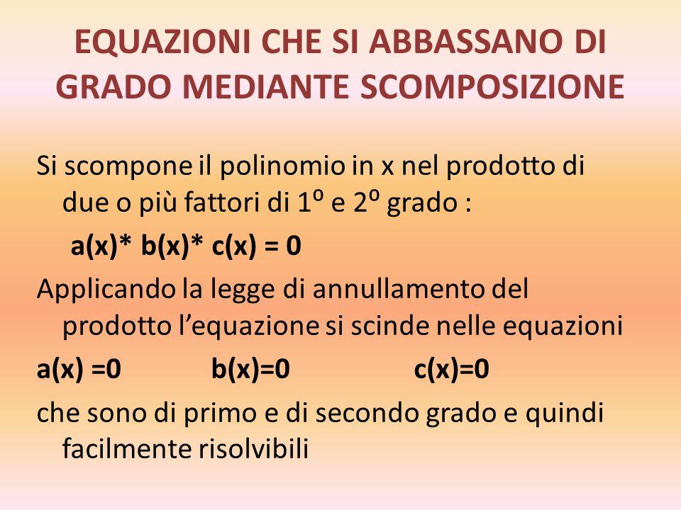 EQUAZIONI BINOMIE Un'equazione si dice binomia se la sua forma normale è axⁿ+b=0 con a, b Є R₀ ed n Є N₀ Le soluzioni si ottengono isolando l'incognita al primo membro e quindi estraendo la radice n-esima : xⁿ=- x= L'esistenza di soluzioni reali e il loro numero dipendono dall'indice della radice e dai valori di a,b