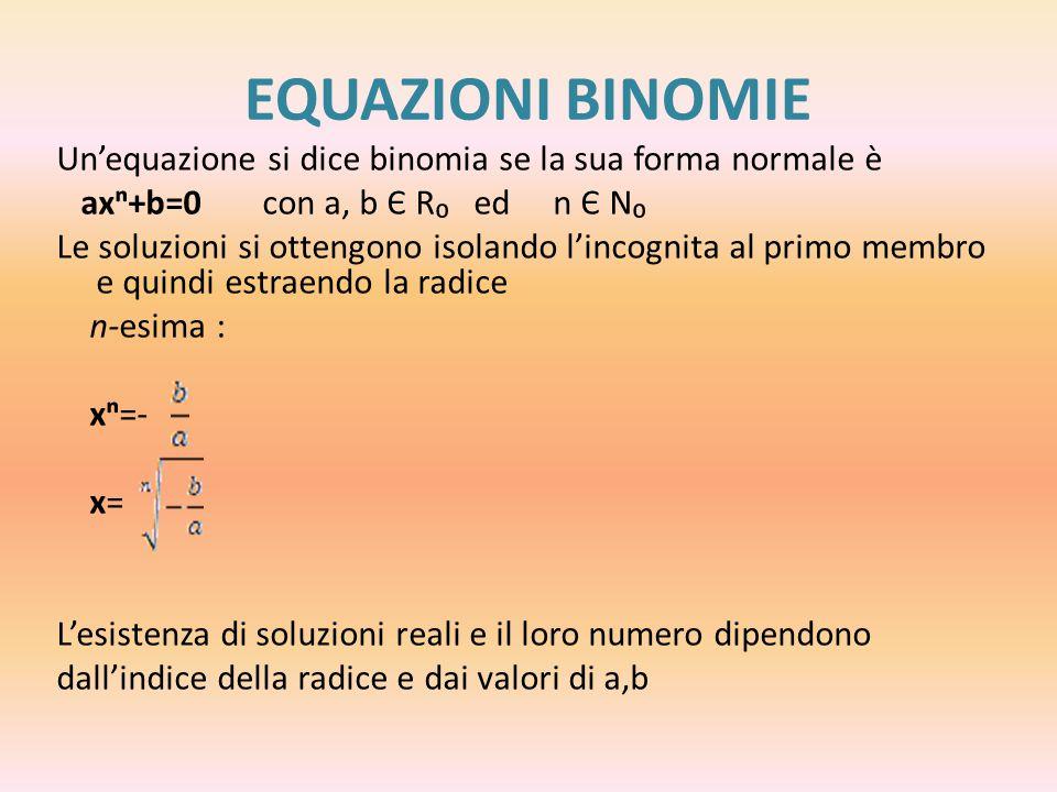 Se l'indice è dispari,l'equazione ha sempre un'unica soluzione x= Se l'indice è pari abbiamo due possibilità 1.Se - non esiste la radice di indice pari di un numero negativo,quindi l'equazione non ha soluzioni reali 2.Se - l'equazione ha come soluzioni la radice di indice n di - preceduta da + e - x=±