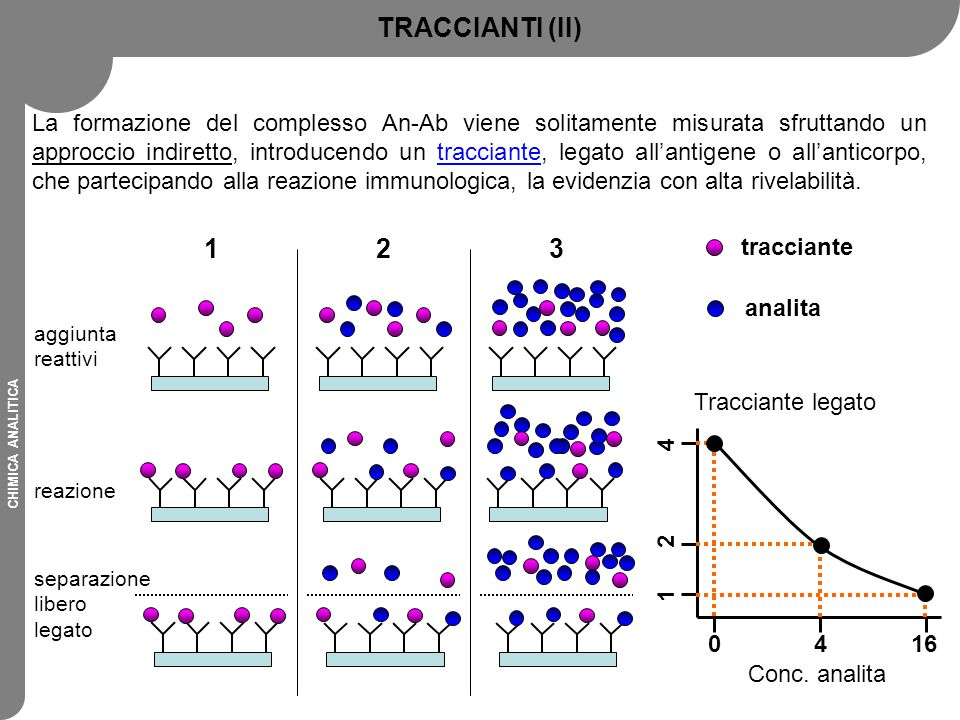 CHIMICA ANALITICA TRACCIANTI (II) La formazione del complesso An-Ab viene solitamente misurata sfruttando un approccio indiretto, introducendo un trac