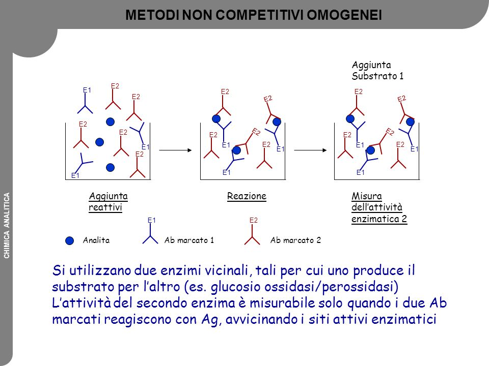 CHIMICA ANALITICA Si utilizzano due enzimi vicinali, tali per cui uno produce il substrato per l'altro (es. glucosio ossidasi/perossidasi) L'attività