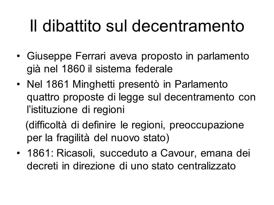 Il dibattito sul decentramento Giuseppe Ferrari aveva proposto in parlamento già nel 1860 il sistema federale Nel 1861 Minghetti presentò in Parlament