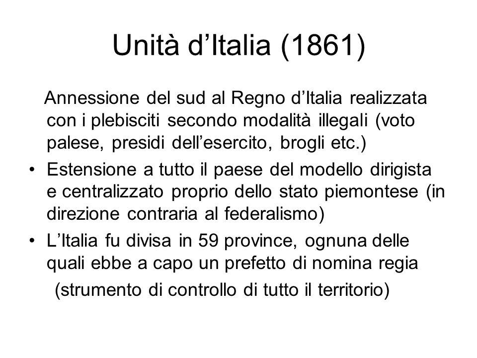 Unità d'Italia (1861) Annessione del sud al Regno d'Italia realizzata con i plebisciti secondo modalità illegali (voto palese, presidi dell'esercito,