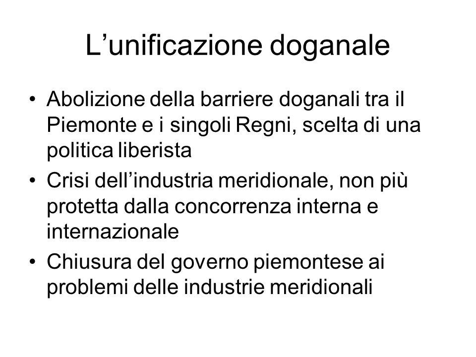 L'unificazione doganale Abolizione della barriere doganali tra il Piemonte e i singoli Regni, scelta di una politica liberista Crisi dell'industria me