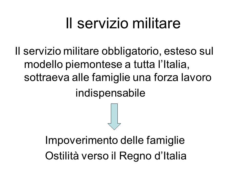 Il servizio militare Il servizio militare obbligatorio, esteso sul modello piemontese a tutta l'Italia, sottraeva alle famiglie una forza lavoro indis