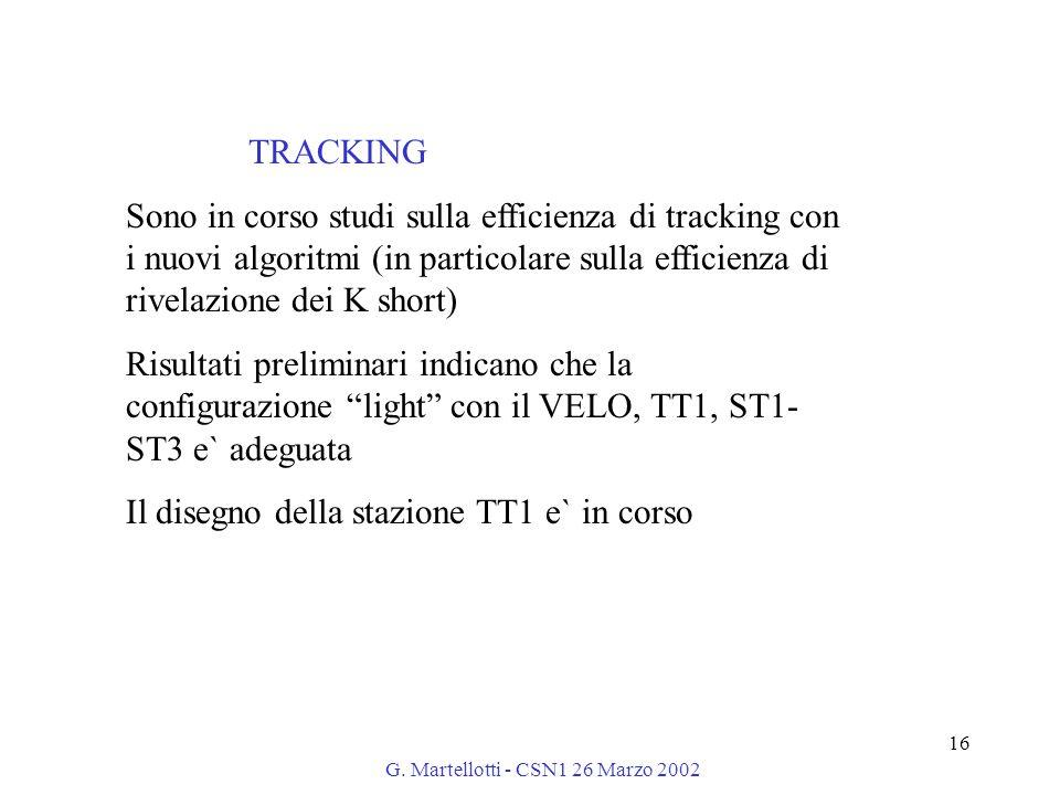 G. Martellotti - CSN1 26 Marzo 2002 16 TRACKING Sono in corso studi sulla efficienza di tracking con i nuovi algoritmi (in particolare sulla efficienz