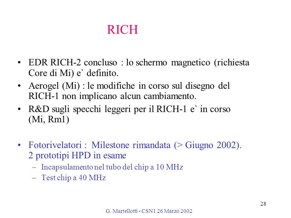 G. Martellotti - CSN1 26 Marzo 2002 28 RICH EDR RICH-2 concluso : lo schermo magnetico (richiesta Core di Mi) e` definito. Aerogel (Mi) : le modifiche